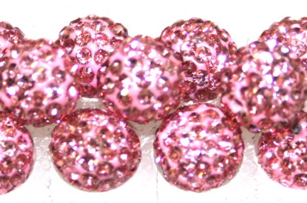 8mm Baby Pink 70 Stone  Pave Crystal Beads- Half Drilled  PCBHD08-070-011